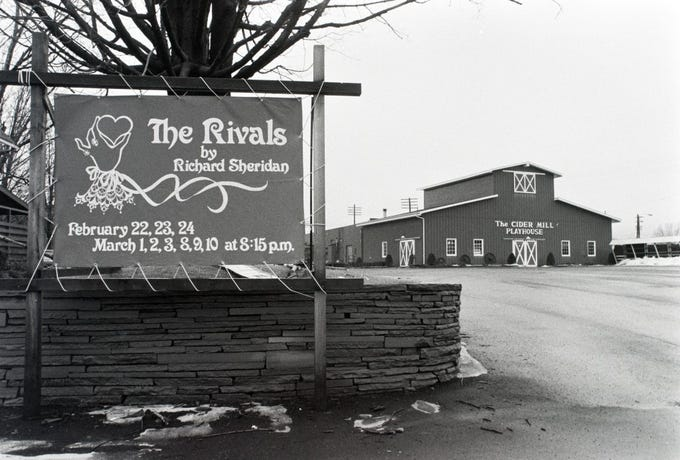 "A sign at the Cider Mill Playhouse in Endicott advertises ""The Rivals"" in 1979."