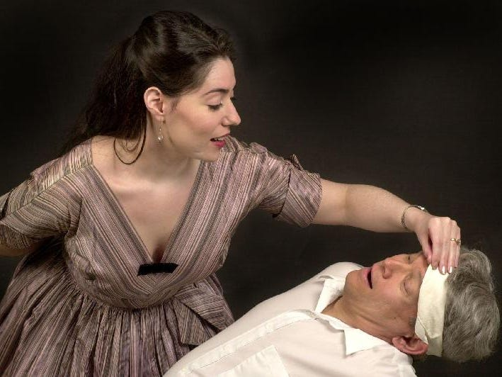 "Andrea Gregori and Edward Shephard in Cider Mill Playhouse's ""Rhinoceros"" in 2002."