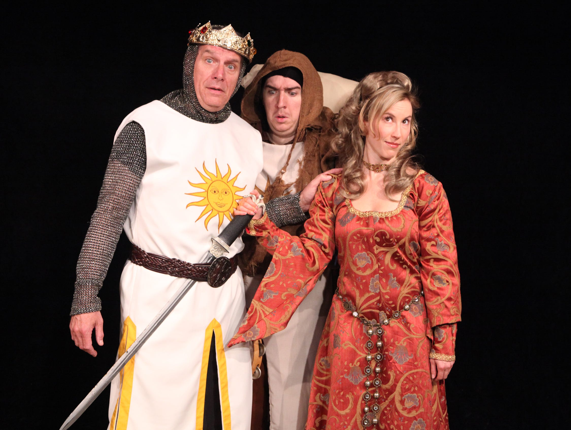 "Tom Kremer (King Arthur), Kevin Killavey (Patsy) and Marjorie Donovick (Lady of the Lake)  in the Cider Mill Playhouse production of Spamalot"" in 2014."