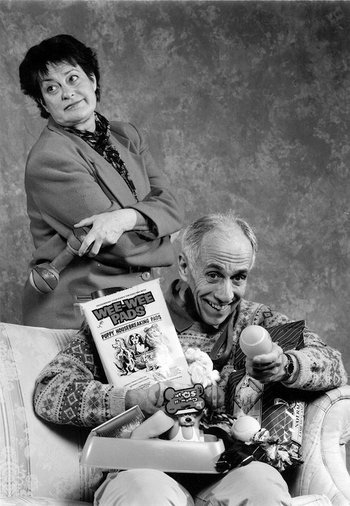 "Bill Gorman and Sarah Keough co-star in the comedy ""Sylvia""  at the Cider Mill Playhouse in 1999."