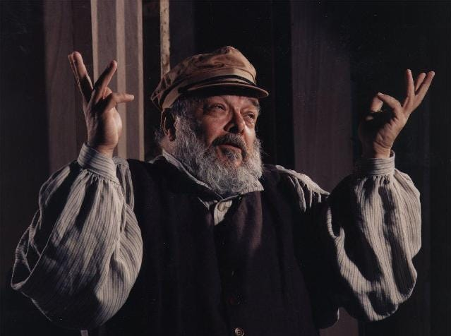 "Claus Evans as Tevye in ""Fiddler on the roof"" at the Cider Mill Playhouse in 1998."