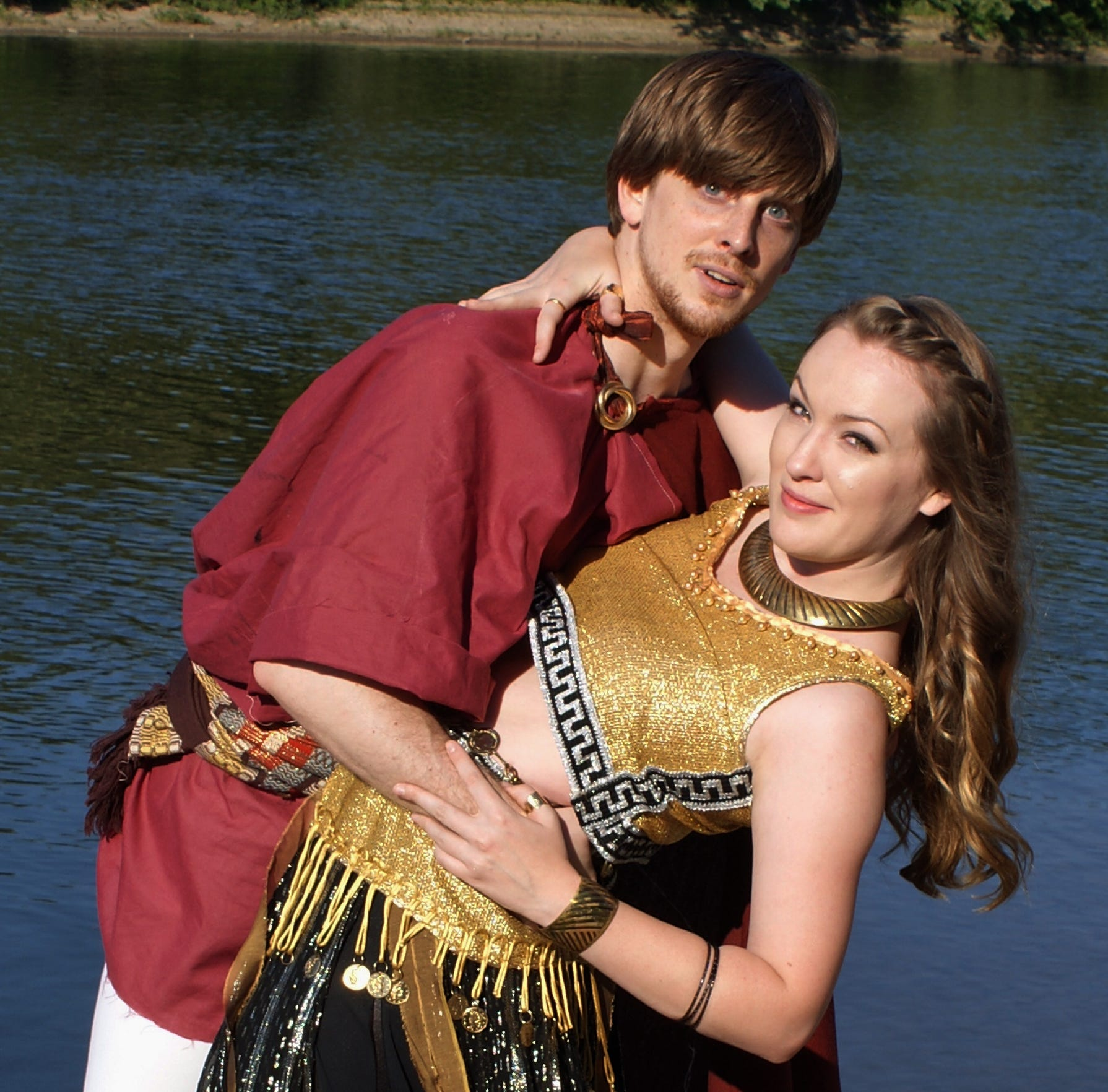 "Josh Sedelmeyer and Jessica Nogaret  in the Cider Mill Playhouse production of ""When in Carthage"" in 2016."