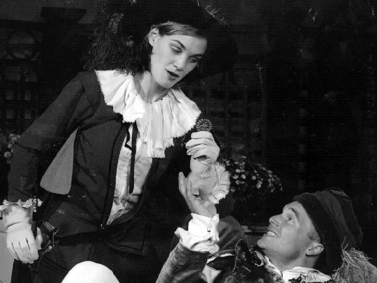 "Kristin Allen and Christopher Haas  in ""The Triumph of Love"" at the Cider Mill Playhouse in 1998"