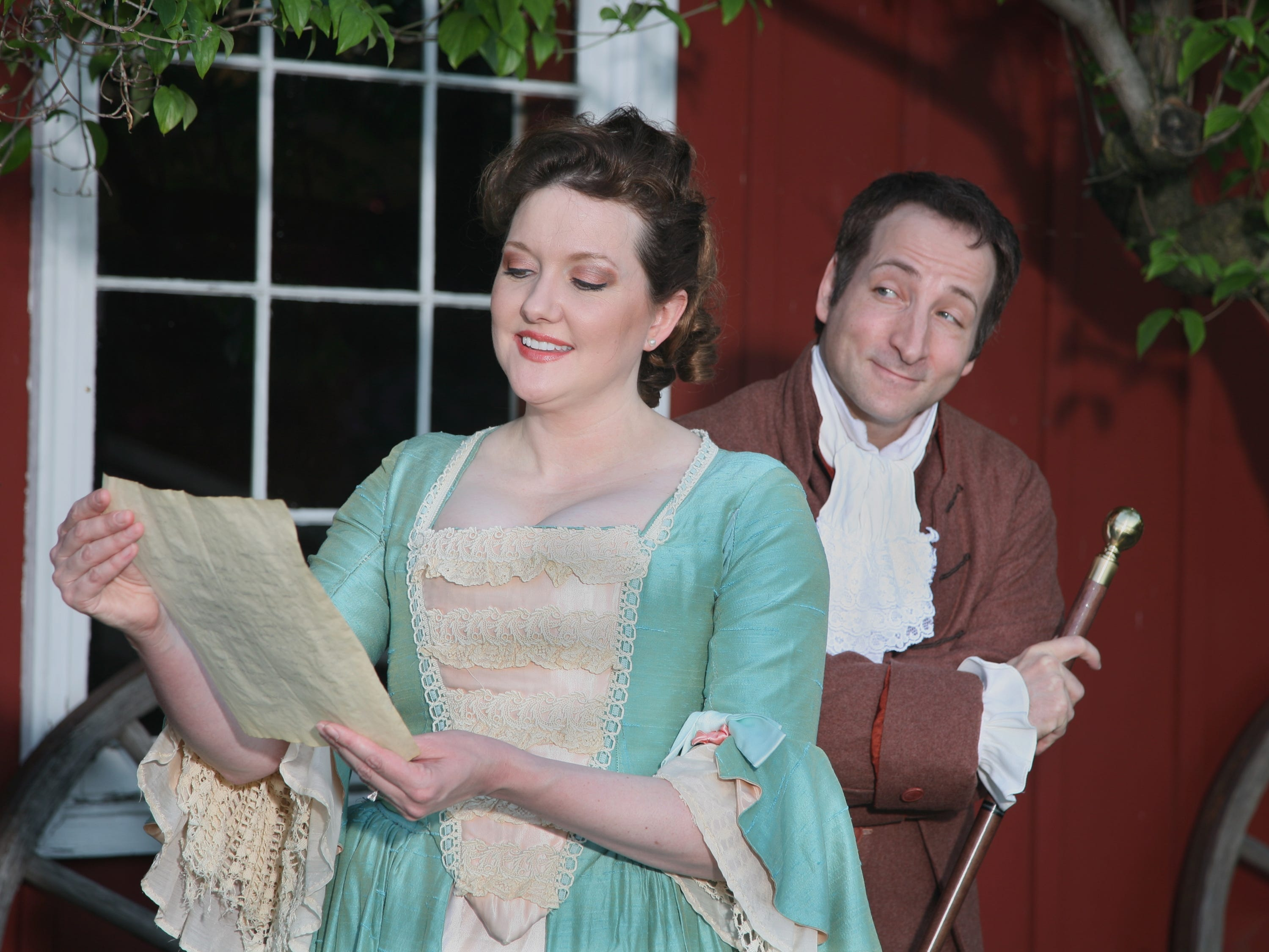 "Ava Crump (Abigail Adams) and Peter Riopelle (John Adams) in the musical ""1776"" at Cider Mill Playhouse in 2009."