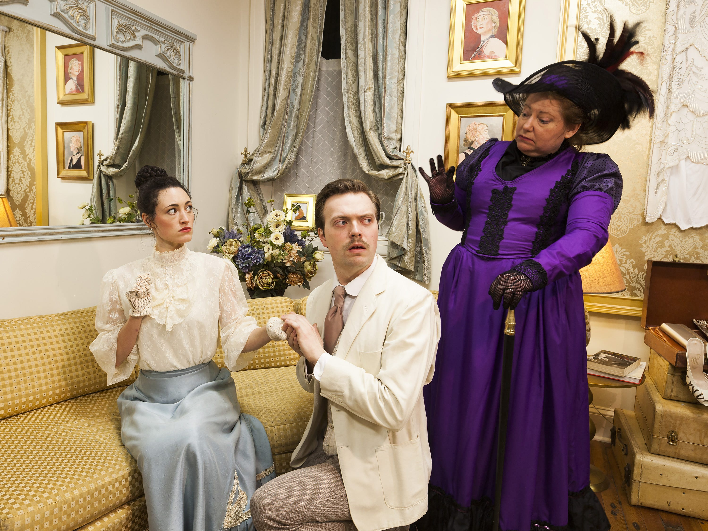 "From left, Rachel Towne, James Taylor Odom and Carol Hanscom star in the Cider Mill Playhouse production of ""The Importance of Being Earnest"" in 2017."