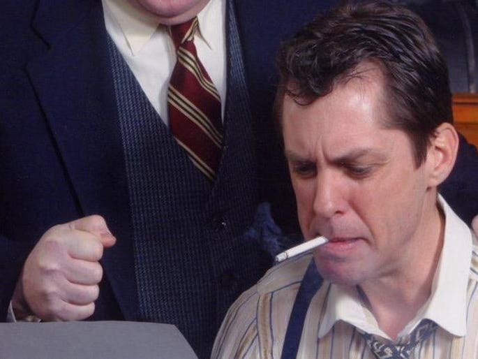 "The Cider Mill Playhouse's production of ""The Front Page"" in 2004 starred Ted Swetz. left, and Dennis Fox."