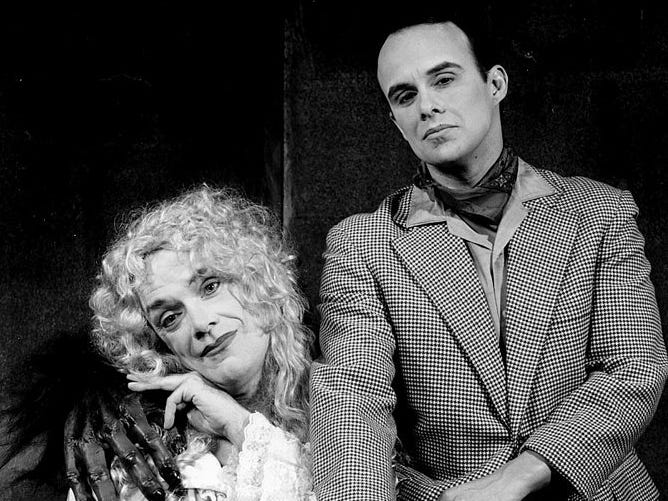 "Kirk Jackson and Oliver Wadsworth in the spoof melodrama ""The Mystery if Irma Vep"" at the Cider Mill Playhouse in 1999"