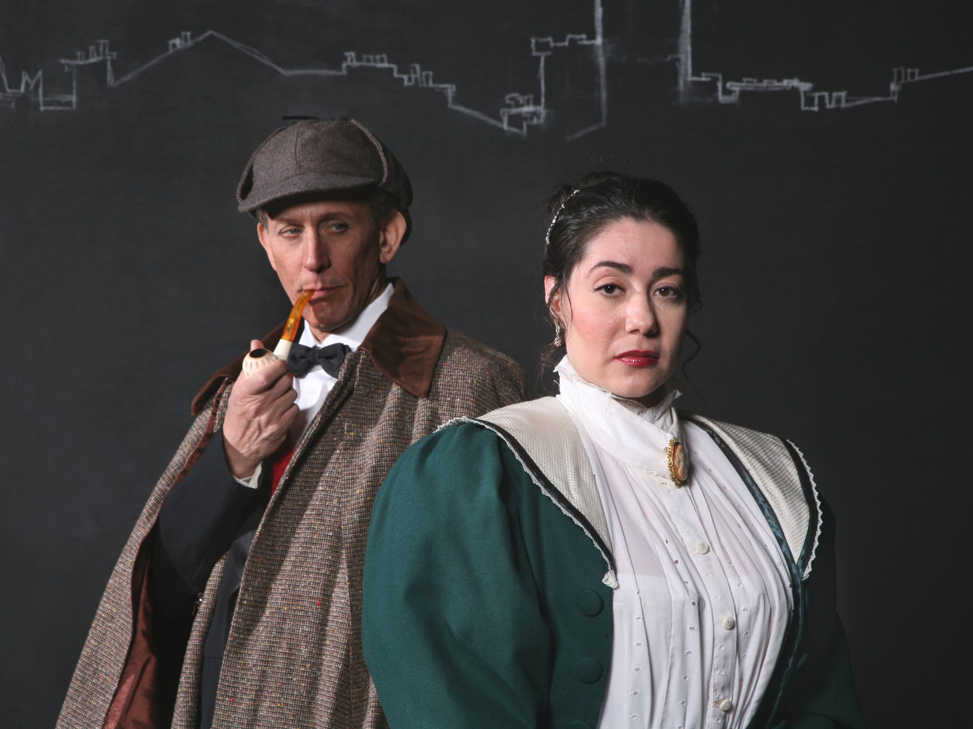 "Howard Pinhasik and Andrea Gregori  in the Cider Mill Playhouse's ""Sherlock Holmes: The Final Adventure"" in 2010."