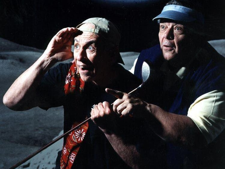 "-Bill Gorman, left, and Claus Evans in ""Golf with Alan Shephard"" at The Cider Mill Playhouse in 2003."