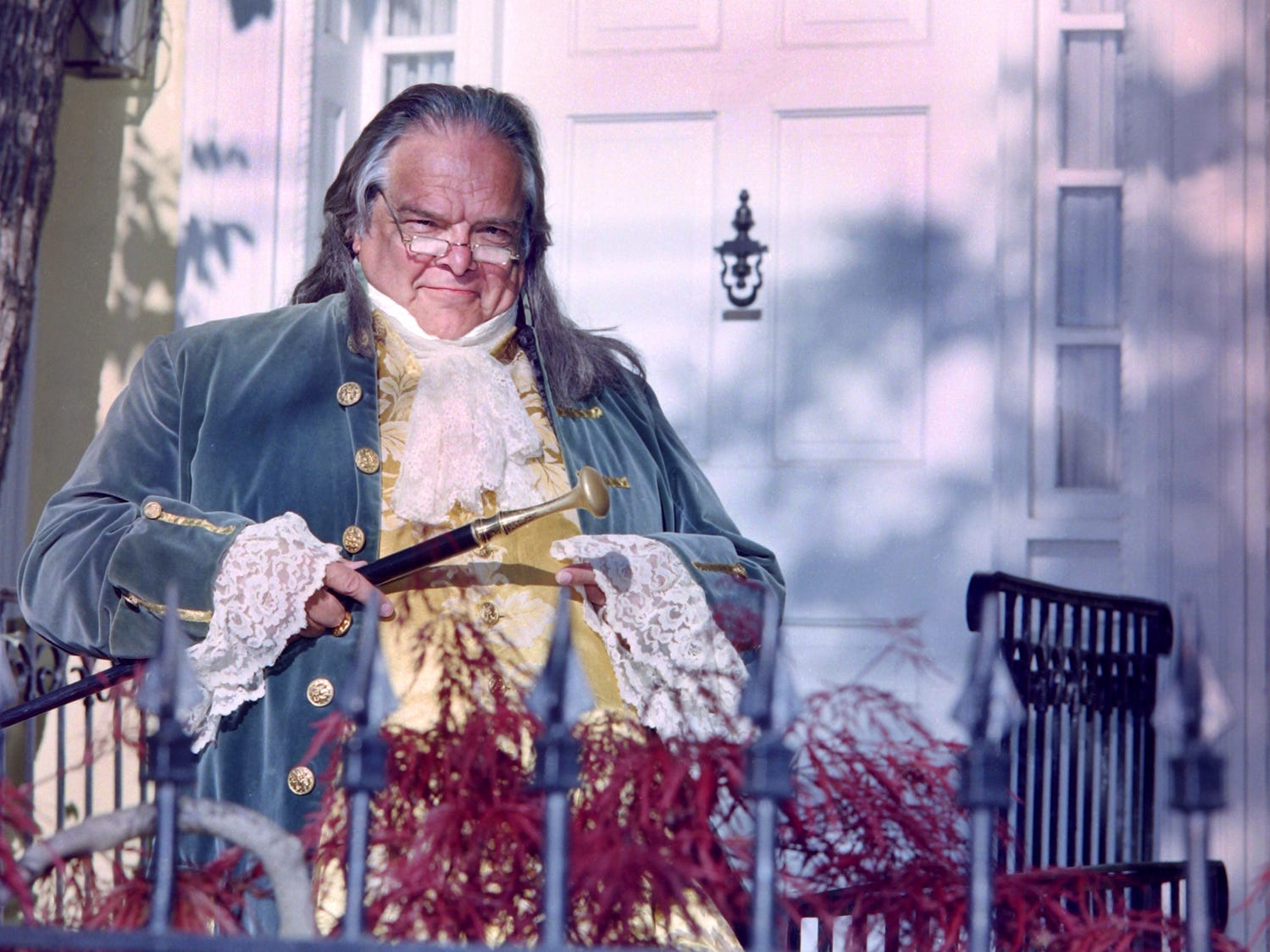 "Claus Evans as Benjamin Franklin in Cider Mill Playhouse's production of ""1776"" in 2001."