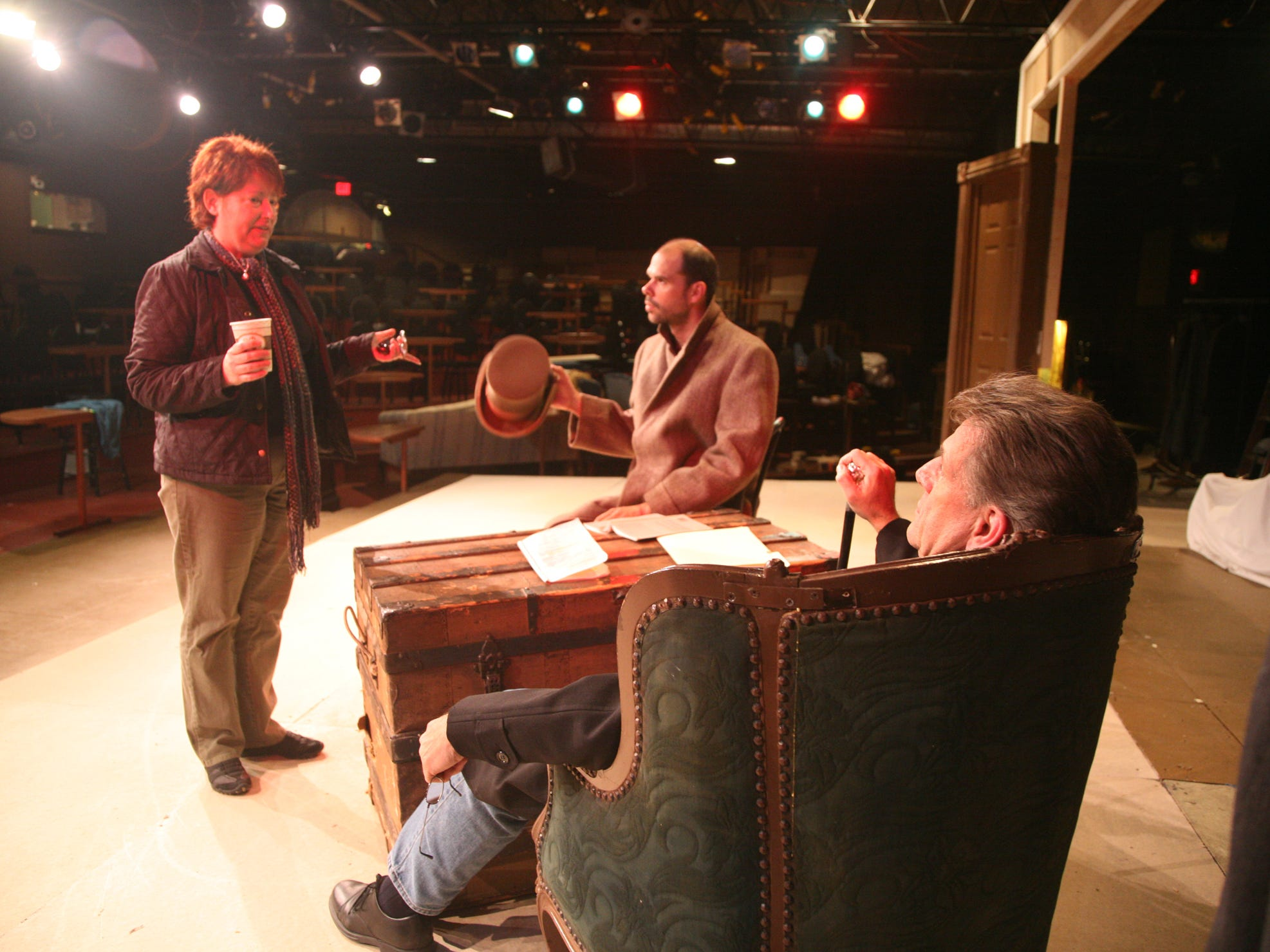 "From left, director Carol Hanscom and actors Patrick Toon and Tom Kremer rehearse for ""The Woman in Black"" at the Cider Mill Playhouse in 2009."