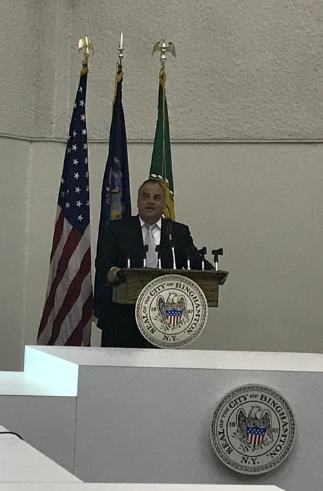 Binghamton Mayor Rich David gives the 2019 city budget proposal.