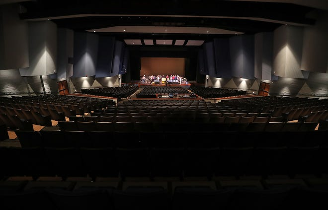 A class utilizes the stage of the Bremerton Performing Arts Center at Bremerton High School on Thursday, October 18, 2018.