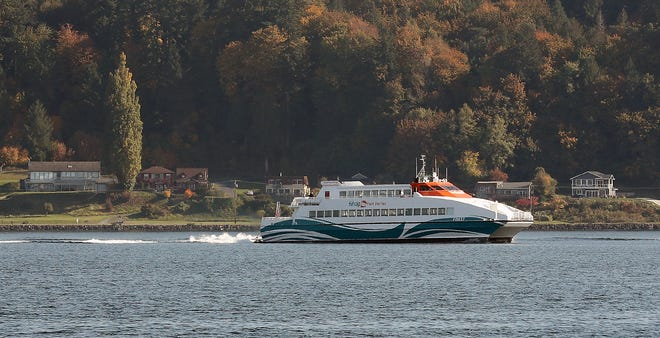 Kitsap Transit's M/V Finest travels through Sinclair Inlet in Bremerton on Thursday, October 18, 2018.