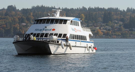 The M/V Melissa Ann, a 172-passenger catamaran owned by Four Seasons Marine heads to the Bremerton Ferry Dock on Thursday, October 18, 2018. The vessel will serve as a backup on the Kingston-Seattle route.