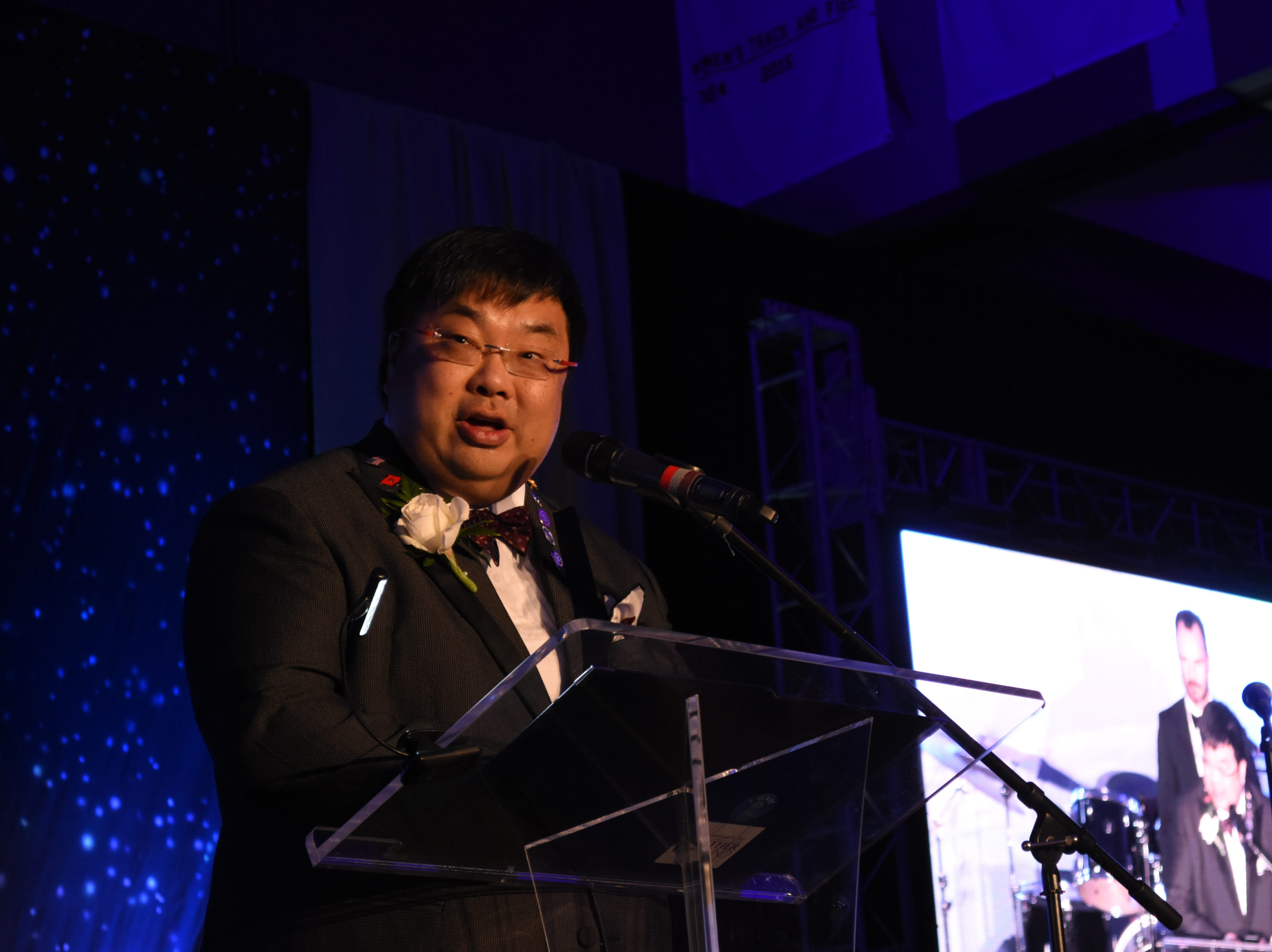 College of Business Outstanding Alumni award winner James Wong speaks to the crowd at Florida Tech's 60th Anniversary Homecoming Gala Oct. 13, 2018, at the Clemente Center.