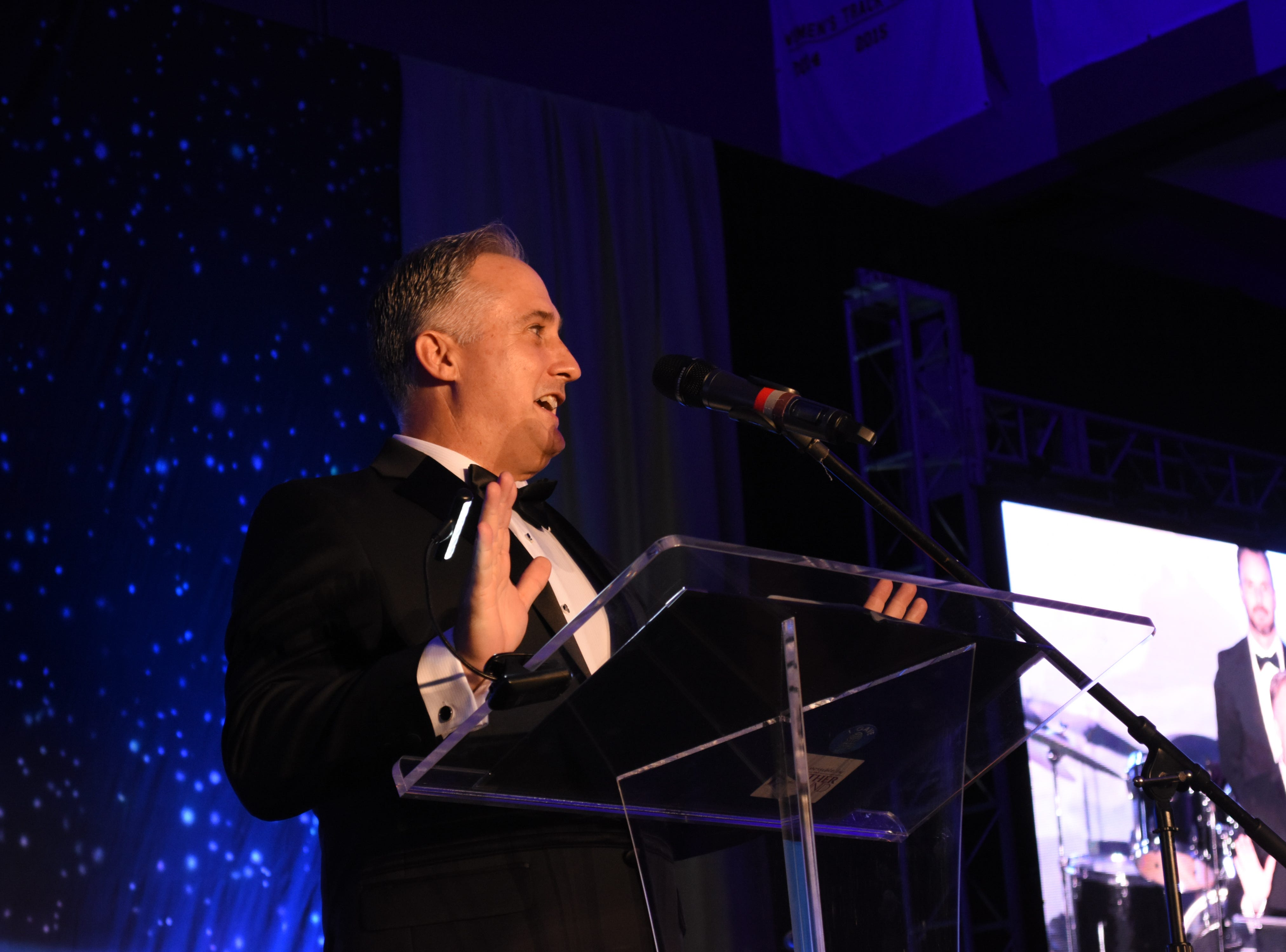 College of Science's Trent Smith speaks to the crowd after accepting the Outstanding Alumni award at Florida Tech's 60th Anniversary Homecoming Gala Oct. 13, 2018, at the Clemente Center.