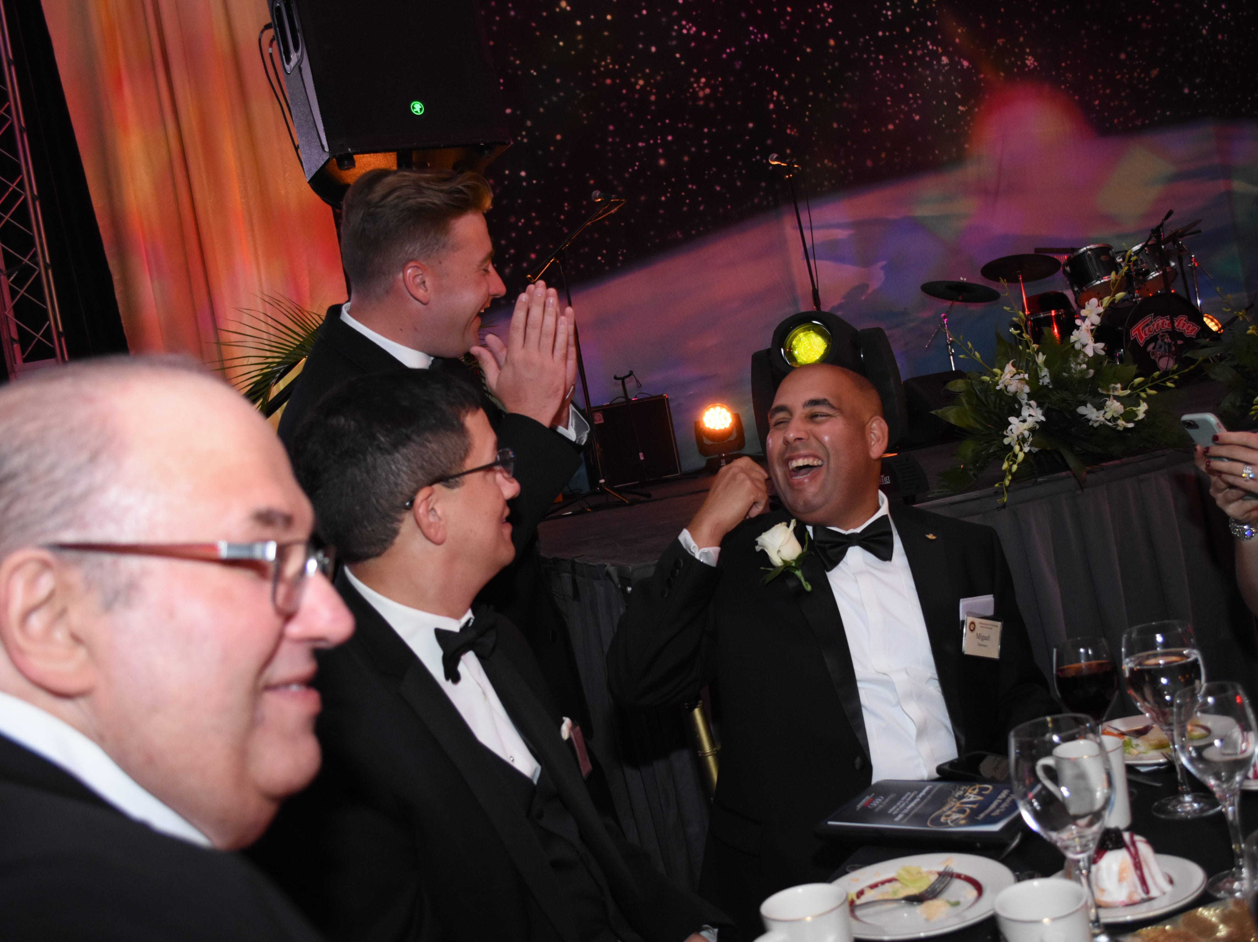 Jeff Ciarcia shares a laugh with Skurla Award recipient Miguel Estrenera at Florida Tech's 60th Anniversary Homecoming Gala Oct. 13, 2018, at the Clemente Center.