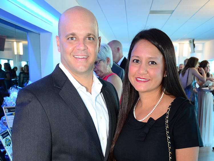 Dr. Anthony and Jackie Allotta socialize Saturday evening during the Jess Parrish Foundation Fly Me to The Moon gala at Port Canaveral.