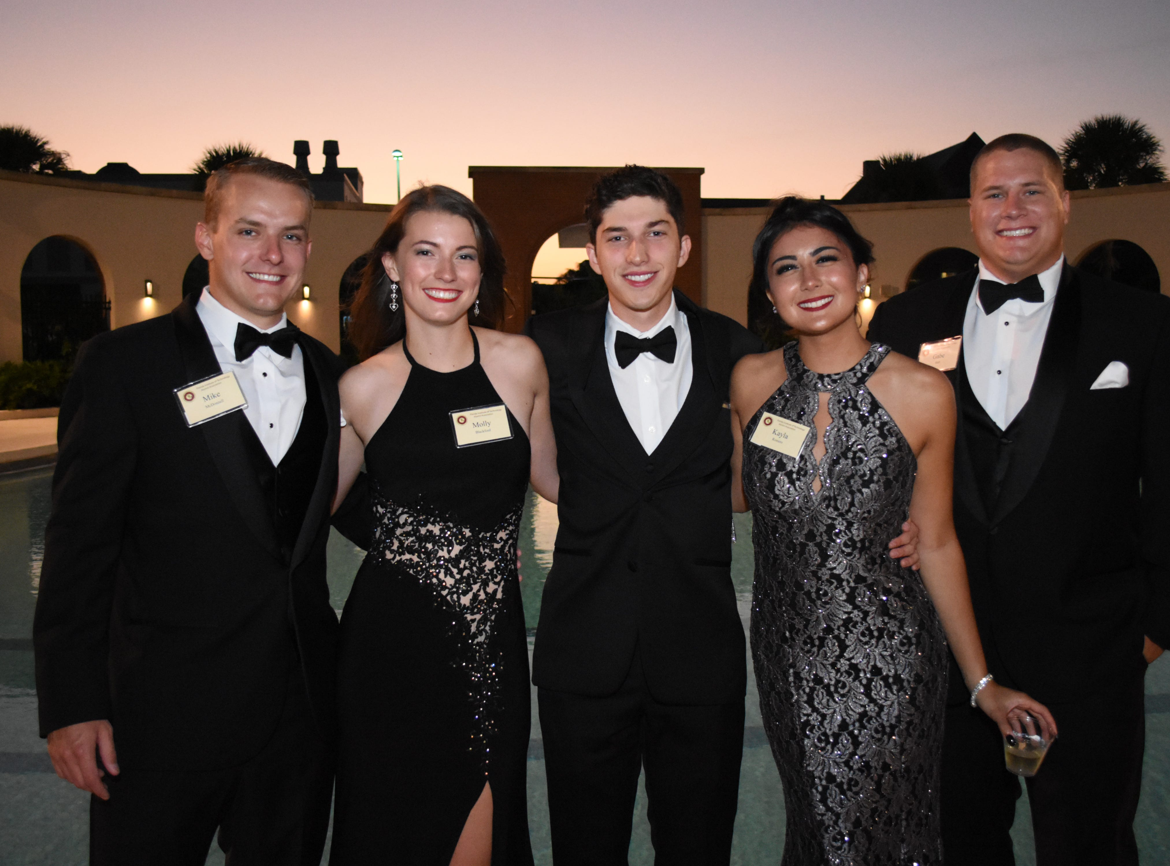 Mike McDonnell, Molly Blackford, Chris Arguelles, Kayla Romero and Gabe Holt at Florida Tech's 60th Anniversary Homecoming Gala Oct. 13, 2018, at the Clemente Center.