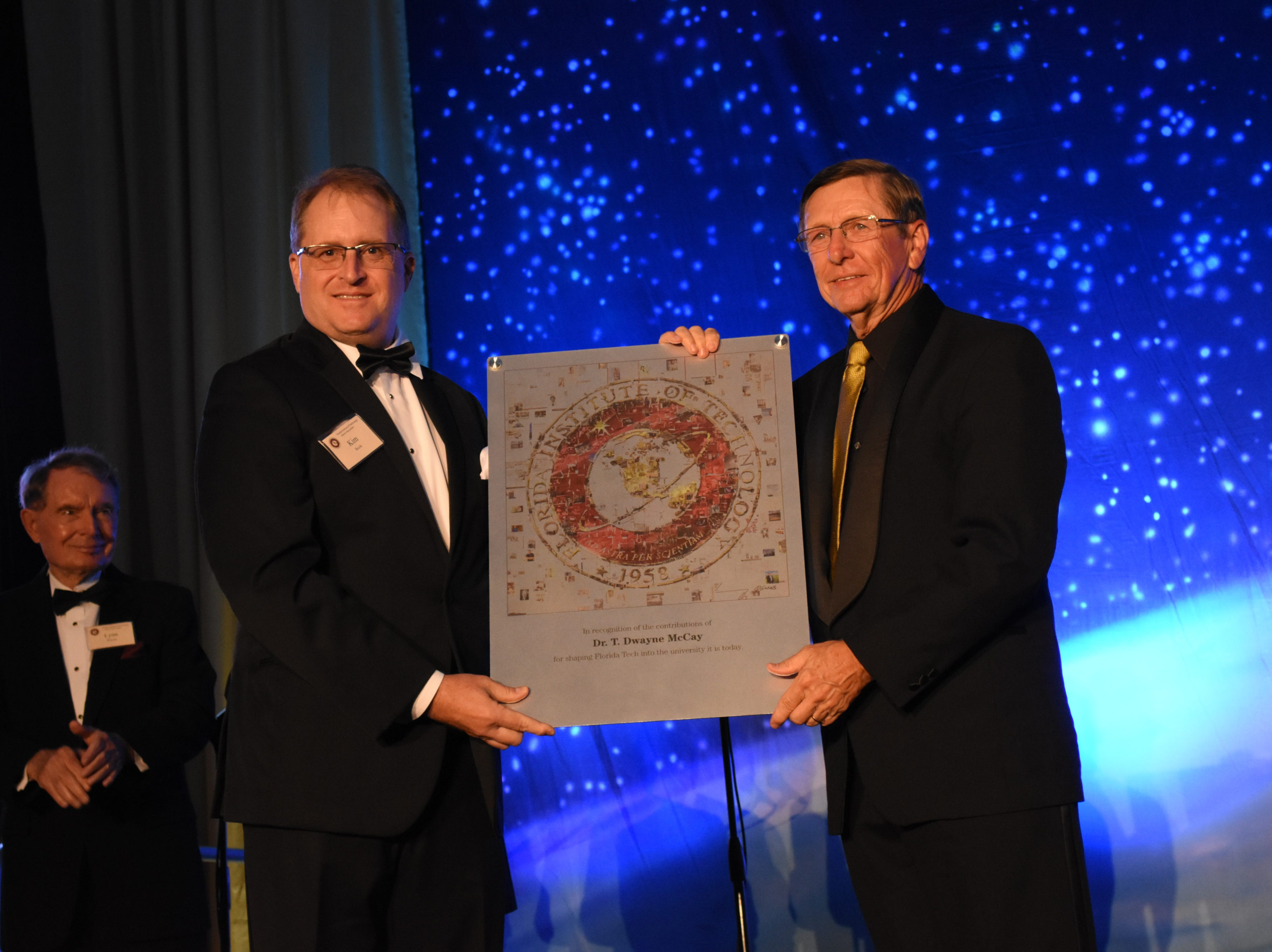 Florida Tech's president, Dr. T. Dwayne McCay, is recognized for his accomplishments that helped shape the school to what is is today at Florida Tech's 60th Anniversary Homecoming Gala Oct. 13, 2018, at the Clemente Center.