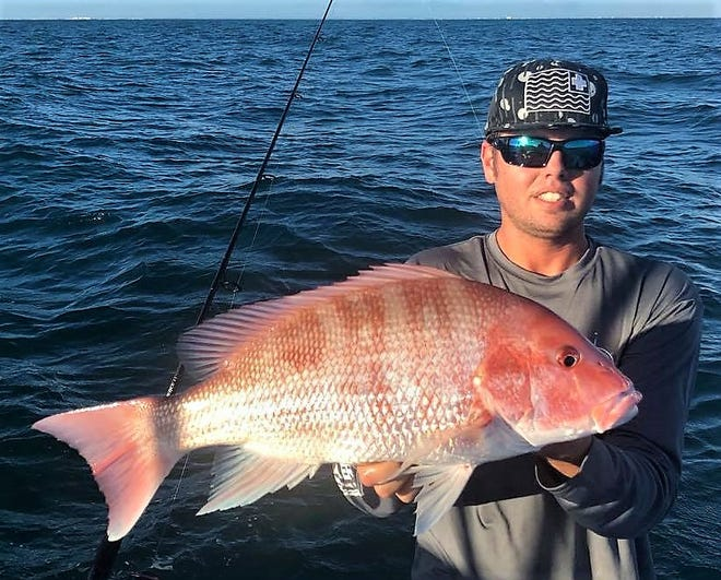 Capt. Jesse Austin of Going Coastal charters in Palm Bay and John Killian Stumpf of Native Salt Clam baits caught a variety of fish in 50 feet of water off Sebastian Inlet this week.