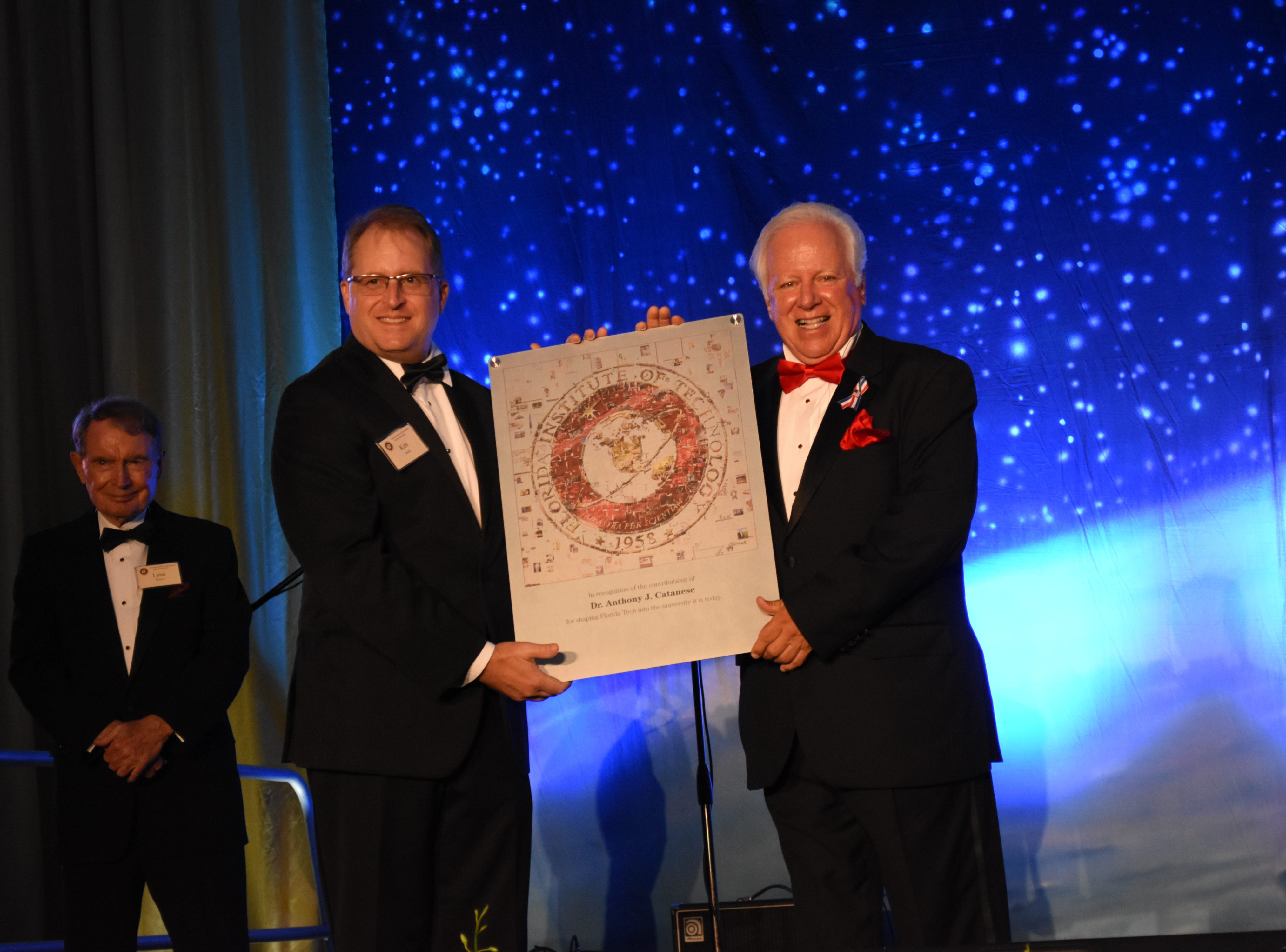 Florida Tech's fourth president, Dr. Anthony J. Catanese, is recognized for his accomplishments that helped shape the school to what is is today at Florida Tech's 60th Anniversary Homecoming Gala Oct. 13, 2018, at the Clemente Center.