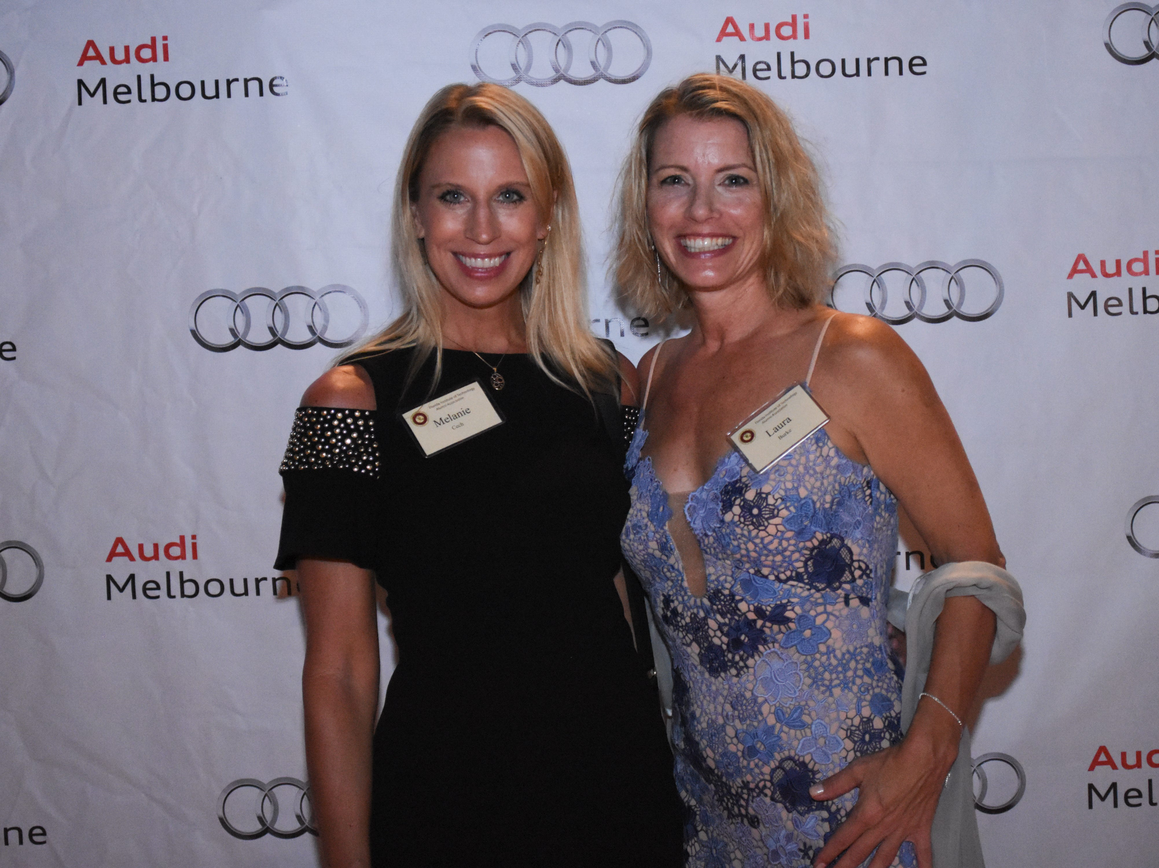 Melanie Cech and Laura Burke at Florida Tech's 60th Anniversary Homecoming Gala Oct. 13, 2018, at the Clemente Center.