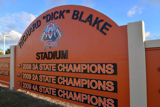 "Cocoa Jr./Sr. High School honored legendary Brevard educator and community leader Richard ""Dick"" Blake by renaming its sports stadium after him. A dedication and unveiling ceremony attended by Blake was held Thursday at the school auditorium. Blake served as a Rockledge city councilman for 40 years, from 1976 to 2016 and served Cocoa High as principal for 23 years."