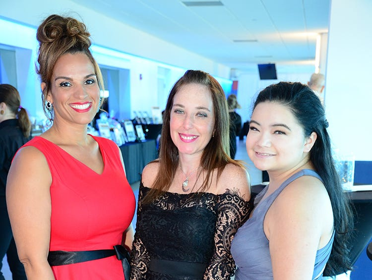 Maricelis Foster, Holly Ryba, and Ashlie Bernier arrive Saturday night for the Fly Me to The Moon gala held at Port Canaveral.