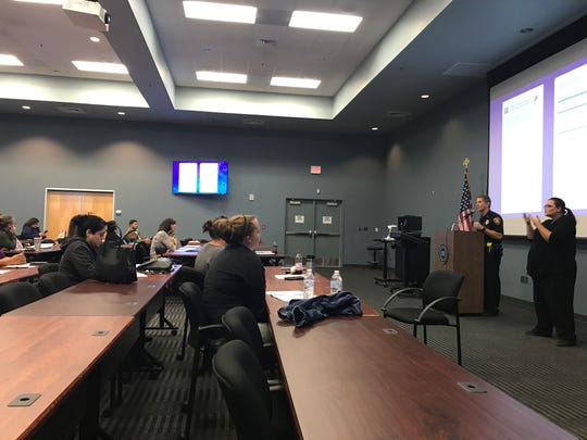 """Corpus Christi Police Asst. Chief Mark Schauer speaks at a domestic violence summit on Oct. 18, 2018. The summit is themed """"Speak Up!"""""""