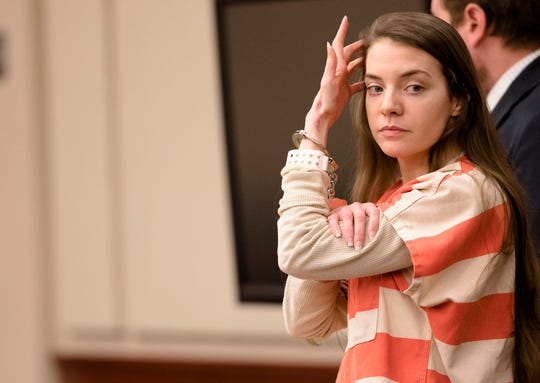 Shayna Hubers appears in court for her sentencing on Thursday, Oct. 18, 2018 in Newport, Ky.  Hubers was convicted of the murder of Ryan Poston.