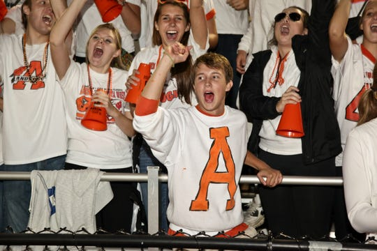 Sam Straley during an Anderson High School pep rally.
