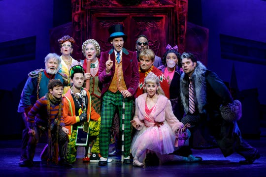 """Noah Weisberg, center, stars as Willy Wonka in the musical version of """"Roald Dahl's Charlie and the Chocolate Factory."""" He's seen here with the rest of the cast of the much-loved tale about friendship, greed and love. The show runs Oct. 23-Nov. 4 at the Aronoff Center as the opening presentation of the 2018-2019 Broadway in Cincinnati series."""