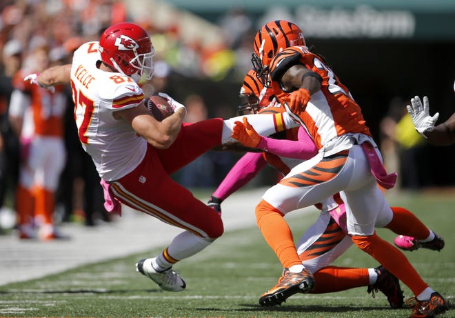 Kansas City Chiefs tight end Travis Kelce completes a reception during the NFL football game between the Kansas City Chiefs and the Cincinnati Bengals, Sunday, Oct. 4, 2015, at Paul Brown Stadium in Cincinnati, Ohio.