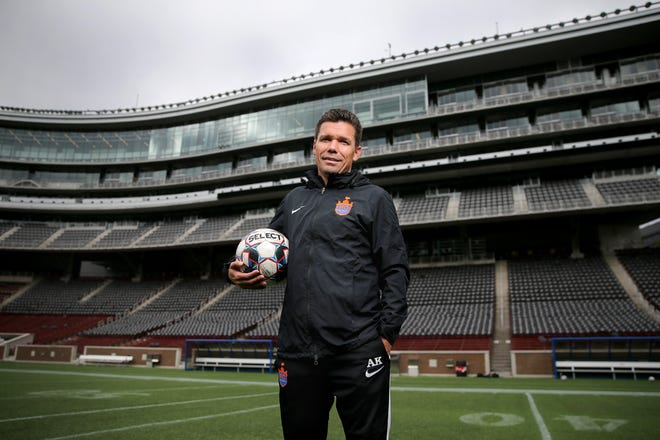 FC Cincinnati manager Alan Koch is pictured, Thursday, Oct. 11, 2018, at Nippert Stadium in Cincinnati.