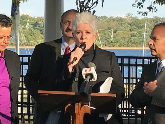 Former Perth Amboy Council President Lisa Nanton speaks during a news conference for Perth Amboy First City Council candidates.