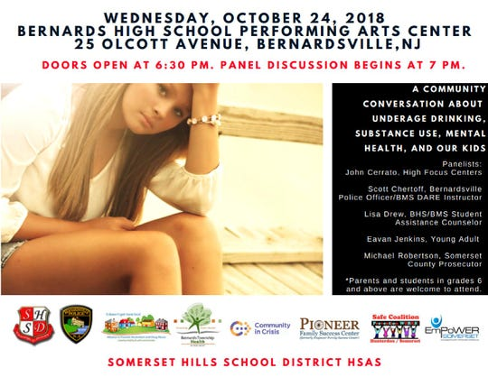 """A town hall event, """"A Community Conversation About Underage Drinking, Substance Use, Mental Health, and Our Kids,"""" will be held on Wednesday, Oct.24,at the Bernards High School Performing Arts Center, 25 Olcott Ave.in Bernardsville."""