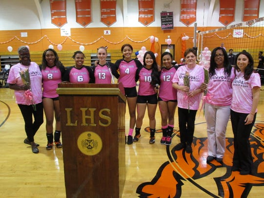 The Linden High School girls volleyball team is hosting its annual Pink Out match on Wednesday, Oct. 24. The photo was taken at last year's event.
