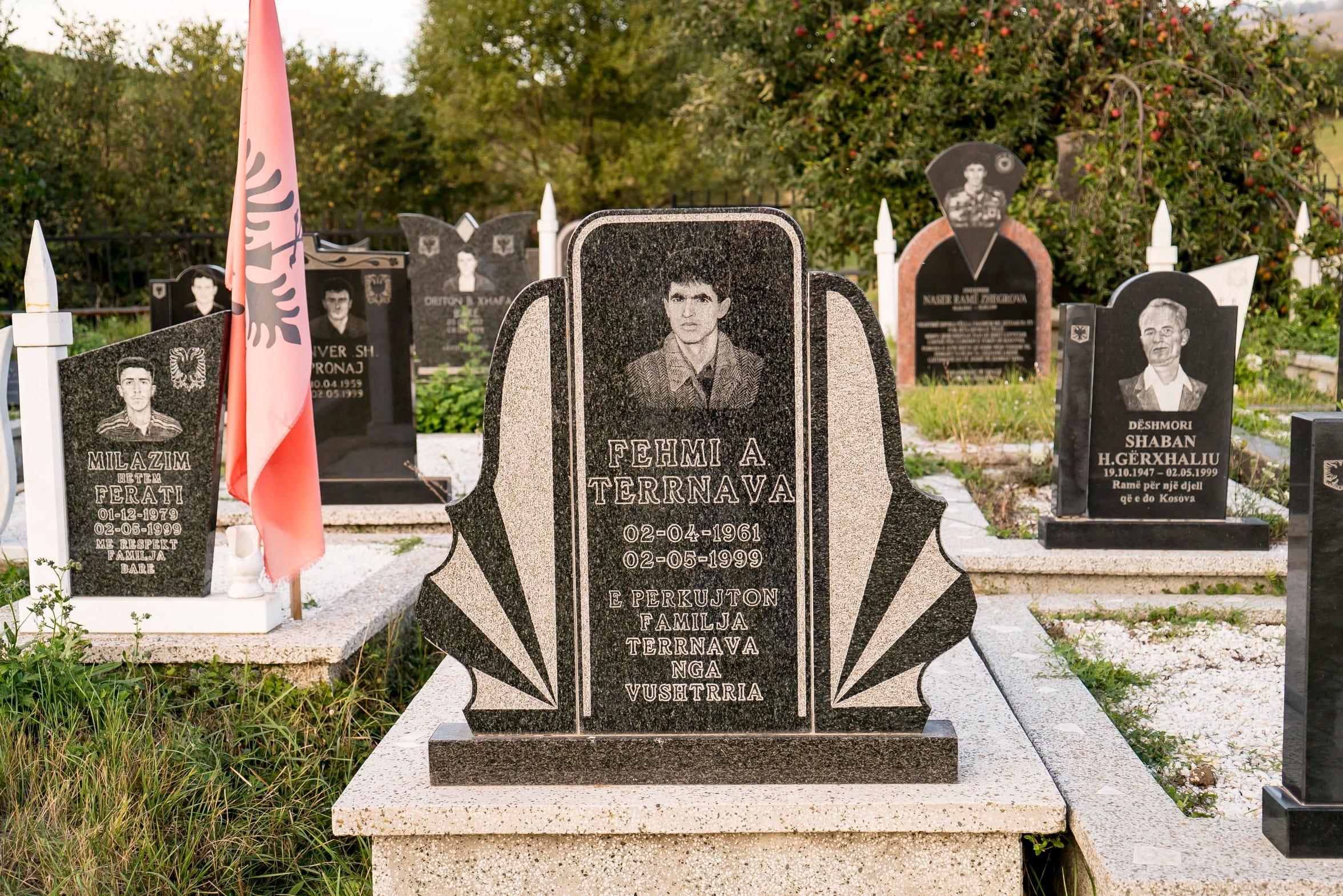 A memorial gravesite outside Vushstrri, Kosovo
