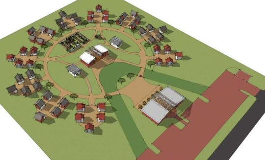The above rendering, prepared by BSB Design, shows an aerial view of the proposed Joppa tiny home village. The village would include 50 homes arranged in sets of five, as well as a community building and restroom, shower and laundry facilities.