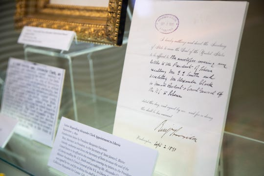 A letter appointing Alexander Clark as ambassador to Liberia on display at the Muscatine Art Center Tuesday, Oct. 9, 2018.
