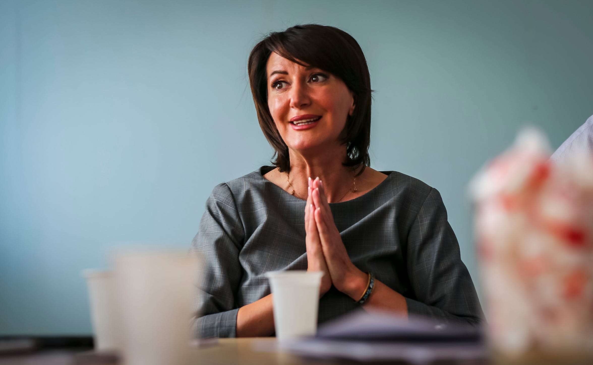 """Former Kosovo president Atifete Jahjaga speaks with the Register on Sept. 18, 2018, in Pristina, Kosovo. """"I'm very proud (of this relationship) because from every single visit, something concrete comes out that opens the door to the partnership and the work between both of our states,"""" she said."""