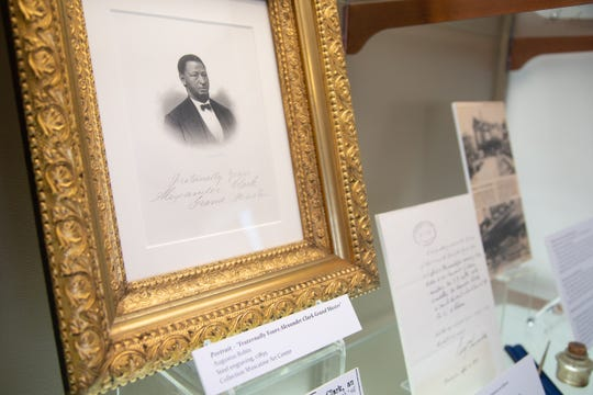 A portrait of Alexander G. Clark on display at the Muscatine Art Center Tuesday, Oct. 9, 2018.