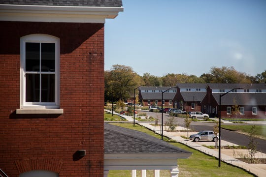 A look out the window of on the the Fort Des Moines Living apartments shows a row of barracks buildings that once housed U.S. Army cadets.
