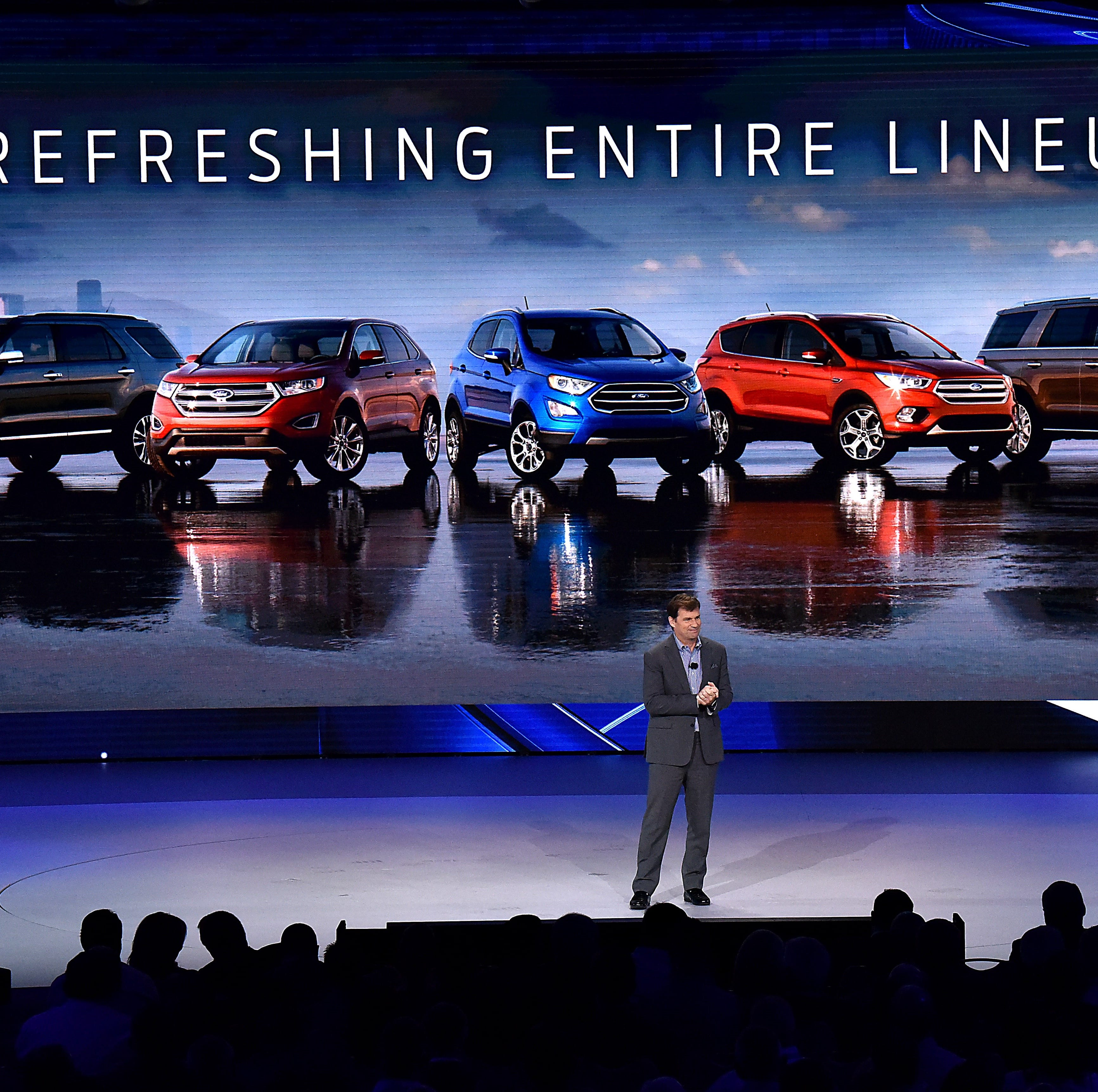Jim Farley, Ford president of global markets, talks to dealers on Wed., Oct. 17, 2018 in Las Vegas about the automaker's new vehicles and marketing plans.