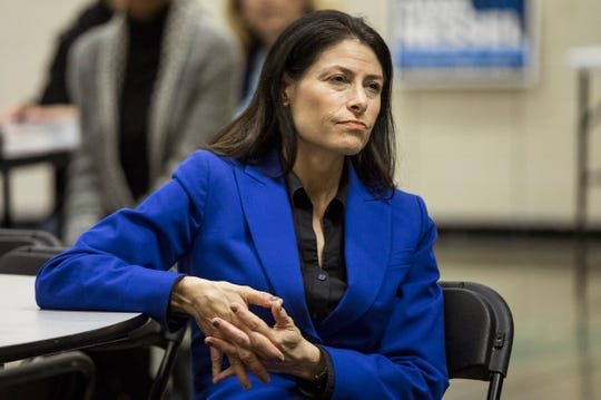 Democratic attorney general candidate Dana Nessel listens during a town hall at Hope United Methodist Church in Southfield, Thursday, October 11, 2018.