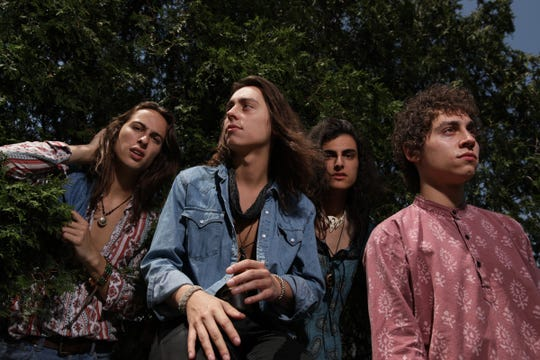Greta Van Fleet photographed on May 24, 2018, in Detroit. From left: bassist Sam Kiszka, guitarist Jake Kiszka. drummer Danny Wagner and vocalist Josh Kiszka.