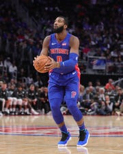 Andre Drummond makes a 3-pointer in the season opener against the Nets at LCA.