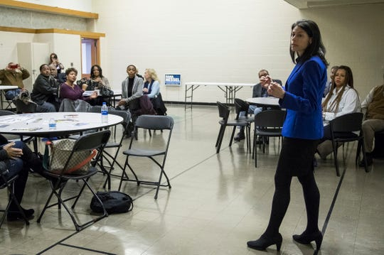 Democratic attorney general candidate Dana Nessel speaks during a town hall at Hope United Methodist Church in Southfield, Thursday, October 11, 2018.